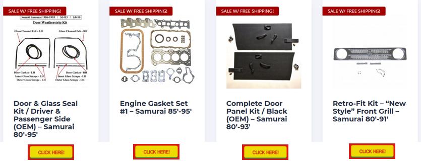 samurai parts on sale